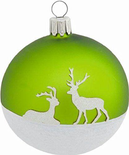 2 Glas Christbaumkugeln Winter Deer Grün matt 8 cm, Mundgeblasene Glas Kugel, Christbaumschmuck, Weihnachtsbaumkugeln, Glaskugeln, Weihnachten