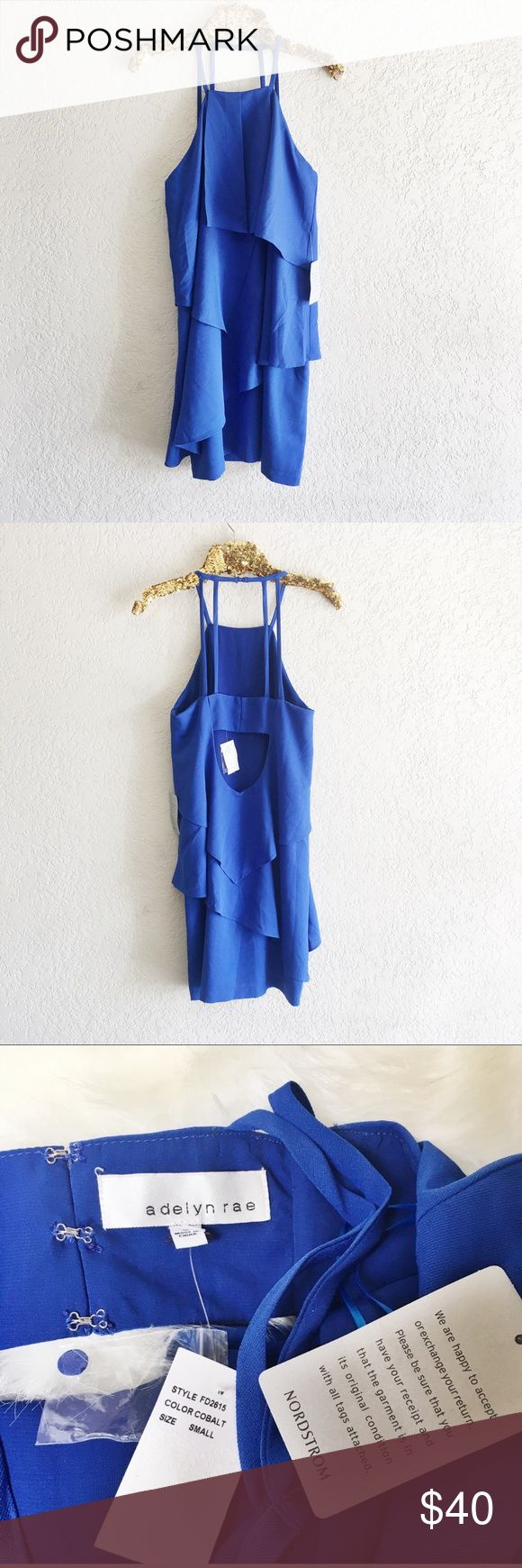 Adelyn Rae Strappy Cobalt Blue Overlay Dress Brand new with tags! Halter style. Sleeveless. Lined. Size small. From Nordstrom. Adelyn Rae Dresses Mini
