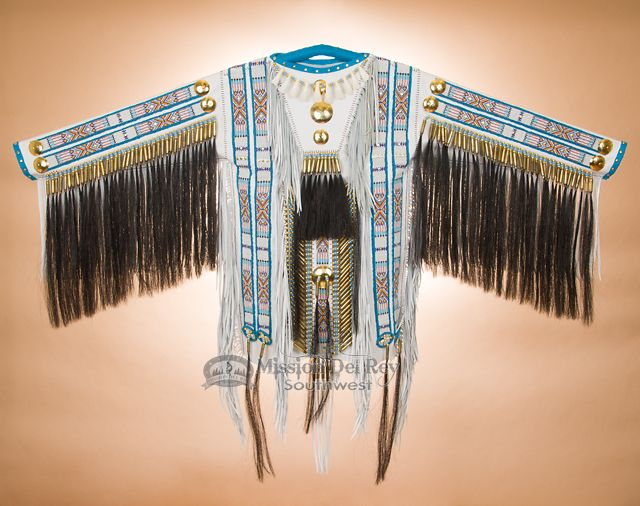 """Tigua Indian Double Beaded Elk Leather War Shirt 65""""x34"""" -White by Manny Silvas (ws7) - Mission Del Rey Southwest"""
