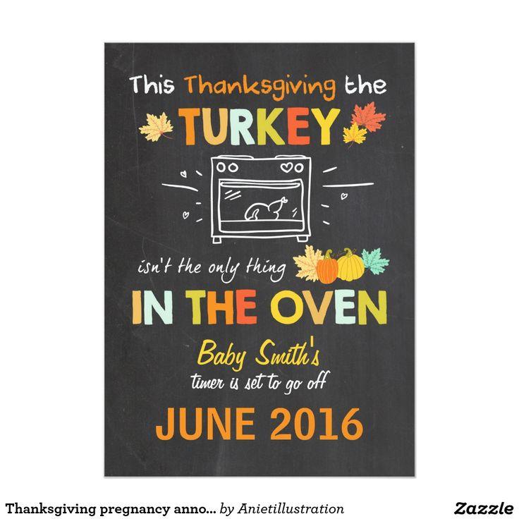 Thanksgiving pregnancy announcement Turkey.  Artwork designed by Aniet Illustration. Price $2.16 per card