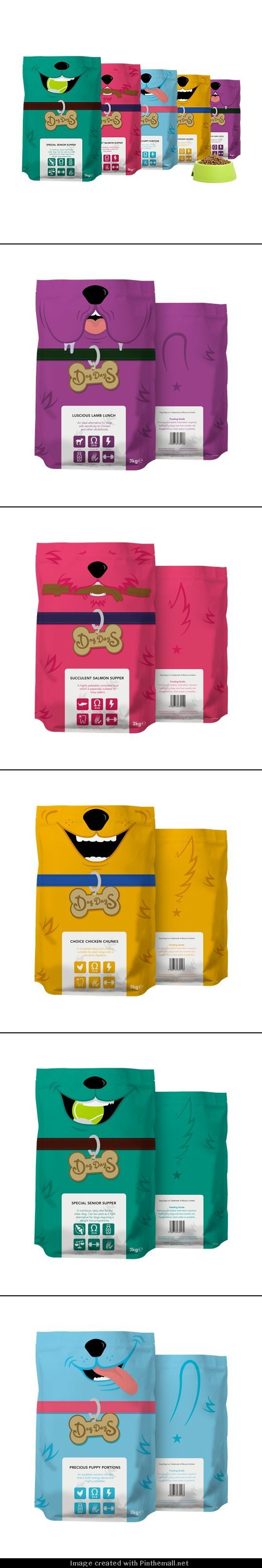 Colorful, cute, and unique packaging design for Dog Days dog food.