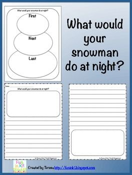 "A writing activity perfectly paired with ""Snowmen at Night"". Using a snowman graphic organizer students will brainstorm 3 things their snowman may do while they are asleep at night. Then they will write a narrative about what their snowman did!"