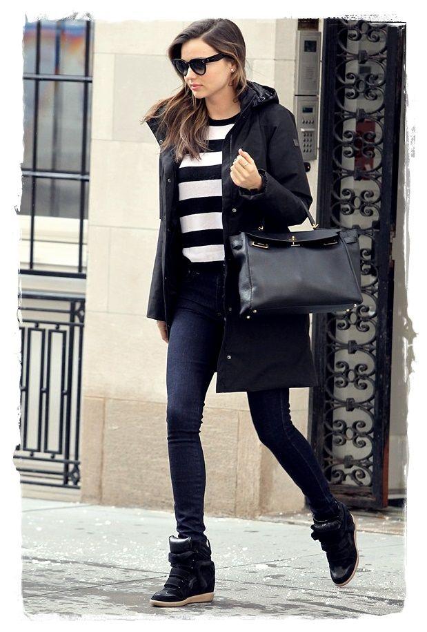 #Miranda #Kerr Street Style - Classic Striped Top and a Tailored Puffa Jacket