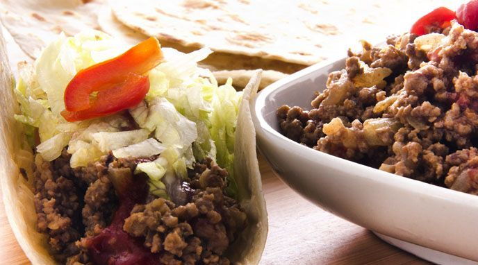 Tacos de carne y verdura