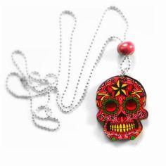 Collier tête de mort mexicaine, découpe laser, perle céramique rose