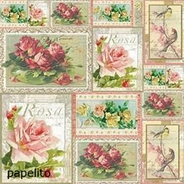 DFT241 Rizspapír, 50x50 cm, rózsás képek - Papelito: kreatív hobby, papír-írószer - webáruház, webshop