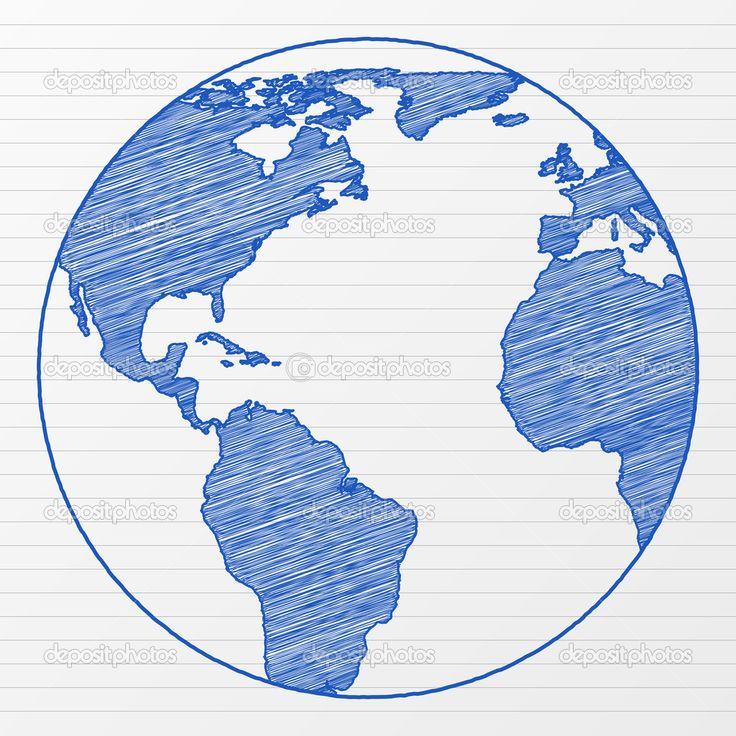 how to draw a globe drawing world globe 5 stock vector yuliyan