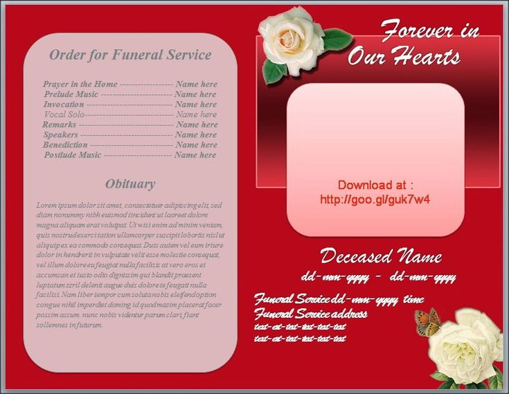 Free Funeral Program Obituary Template White Rose Red Background  Http://funeralprogramtemplates.blogspot  Funeral Service Template Word