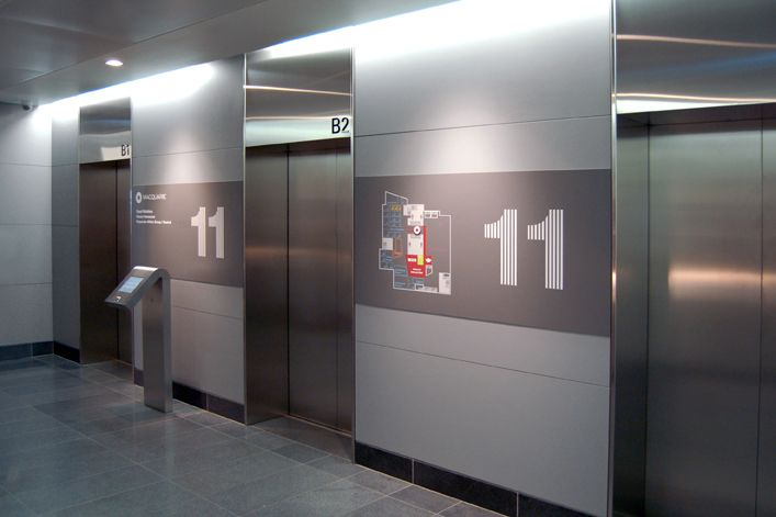Macquarie Group  London    EGG Office designed the environmental graphics and signage in this six-story, 216,000-square-foot space, leveraging the visual vernacular the firm established at Macquarie Group's Sydney headquarters.