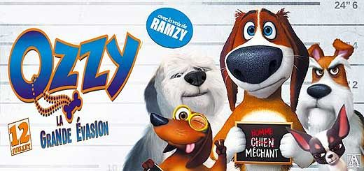 Ozzy, La grande évasion, animation de Alberto Rodríguez et Nacho La Casa avec les voix de Ramzy Bedia, Antoine Duléry. Un chien décide des'évader de prison.
