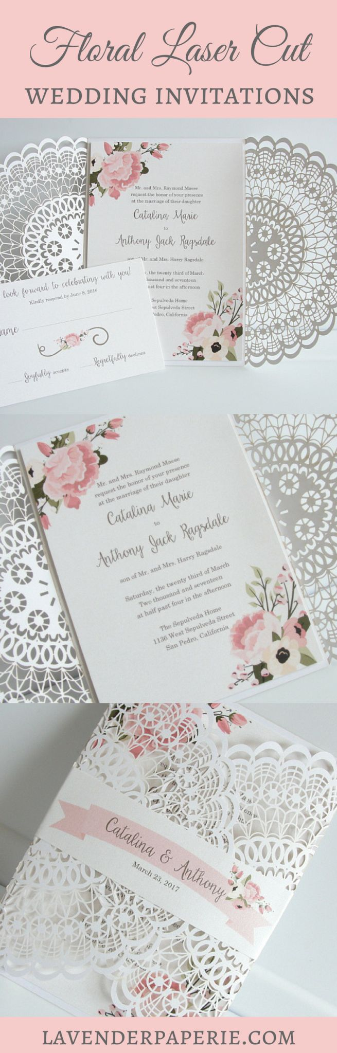 summer fete wedding invitations%0A Floral Laser Cut Wedding Invitations by Lavender Paperie