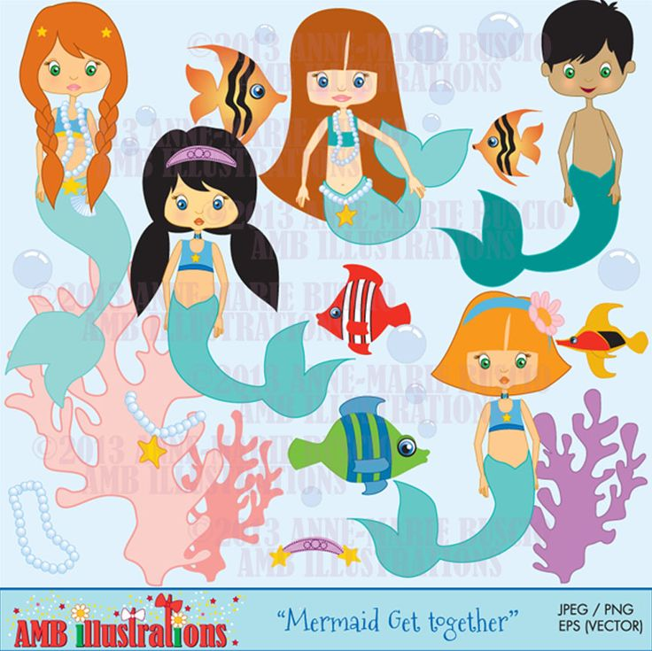mermaid clipart for scrapbooking and crafts, clipart, commercial use, vector graphics, digital clip art, digital image, -  via Etsy http://www.etsy.com/shop/AMBillustrations?ref=si_shop
