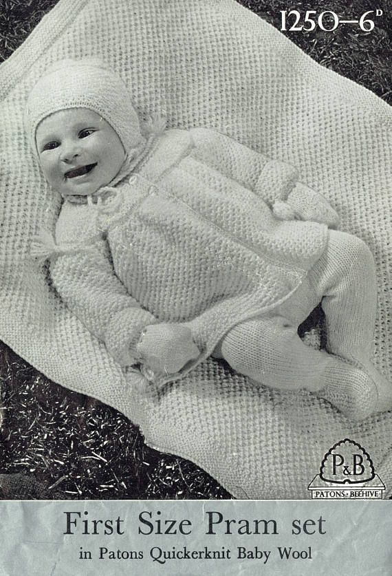 PDF Vintage 1950s  Baby Knitting Pattern Patons and Baldwin