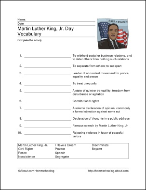 martin luther king research worksheet