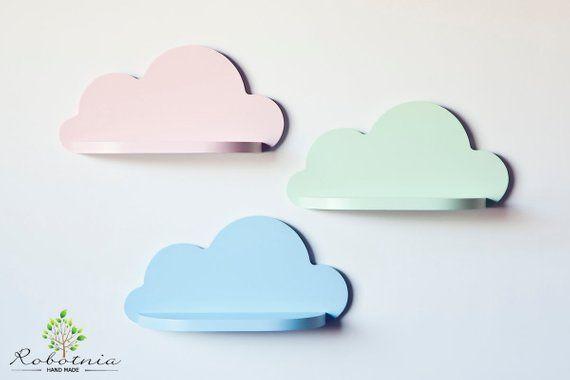 Set Of 3 Small Cloud Shelf Shelf For Baby Nursery Kids Room