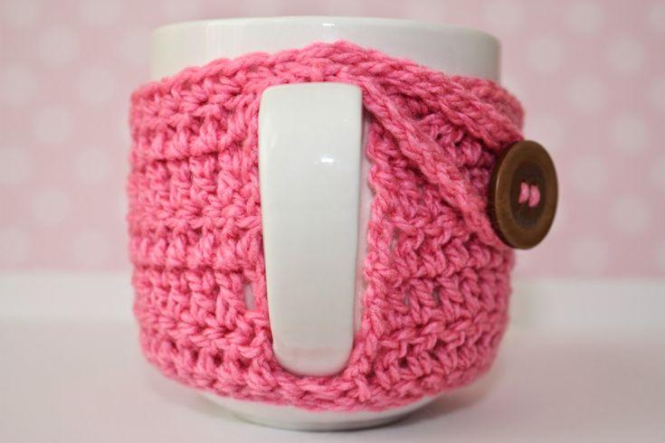 taza con abrigo tejido al crochet -  mug crochet cozy