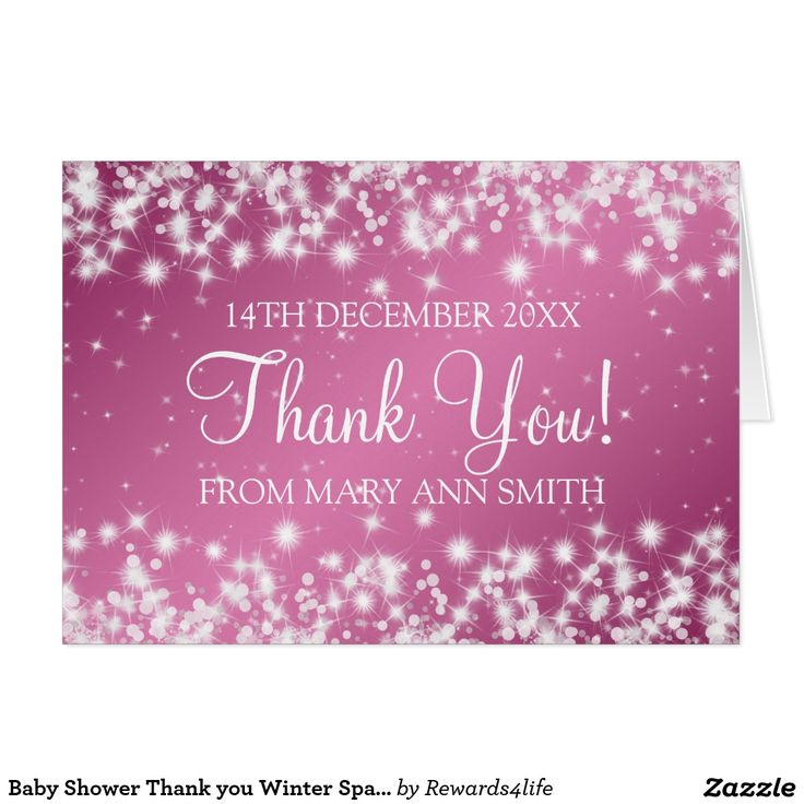 Baby Shower Thank you Winter Sparkle Pink