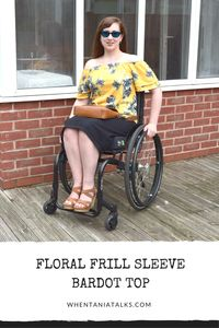Floral Frill Sleeve Bardot Top | Wheelchair Fashion | Want to see how I style a floral frill sleeve Bardot top from Matalan? This is the post for you! Perfect for wheelchair users and non users alike.