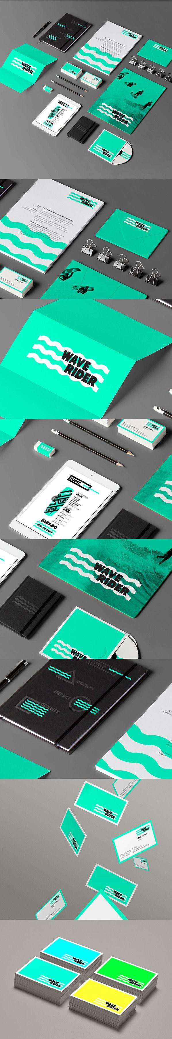 WAVERIDER Branding by Jonathan Quintin / Couleurs vives et dynamiques, superposition des vagues au texte
