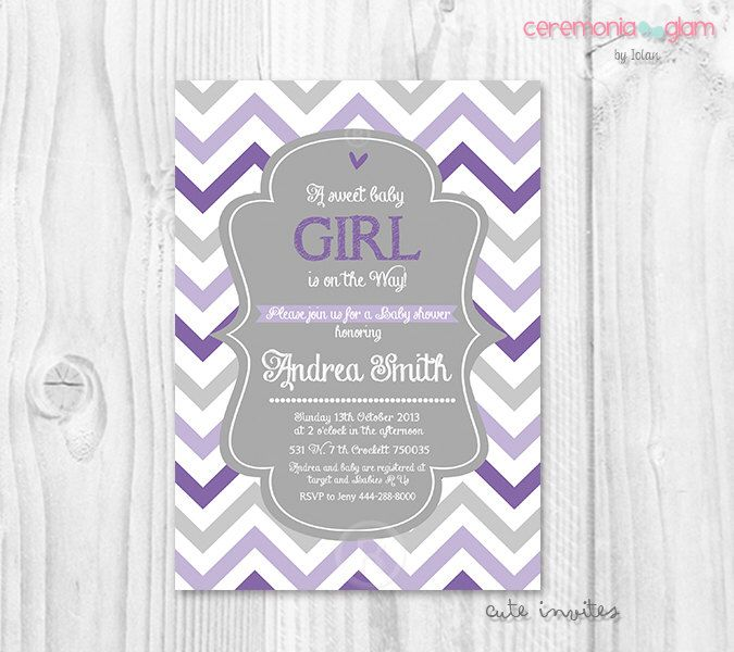 Attractive Lavender Baby Shower Invitations Part - 9: Baby Shower Girl Chevron Lavender, Purple And Grey Printable Invitation By  CeremoniaGlam On Etsy Https