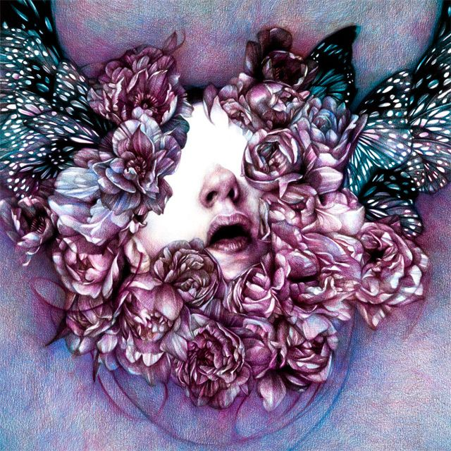 Nature-infused portraiture drawn with colored pencil by Marco Mazzoni