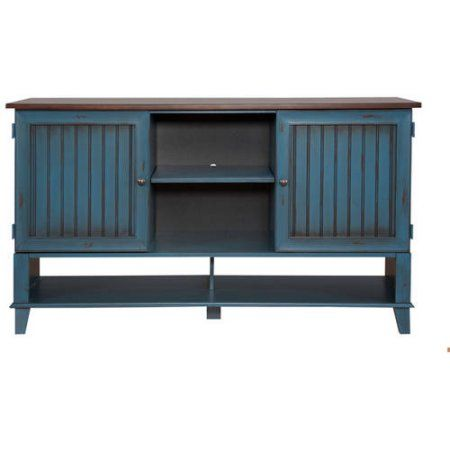 "Martin Furniture Eagon Deluxe TV Stand For Flat Screen TVs up to 70"", Blue"