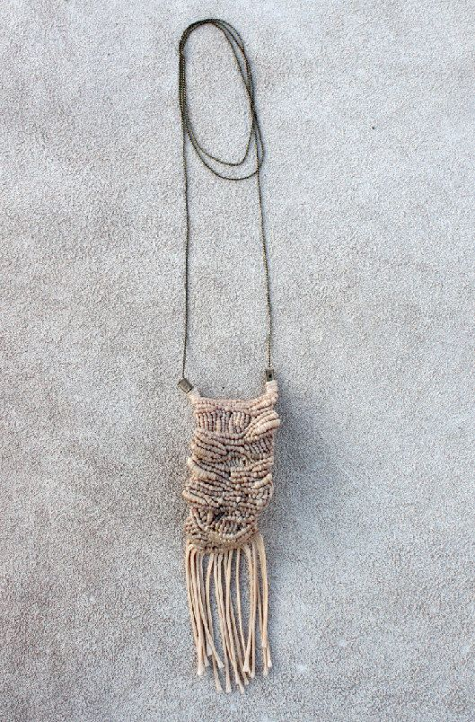 special designer Fringe Necklace Macrame Beige Modern Fashion Tribal Boho Ethnic Nomad. €50,00, via Etsy.