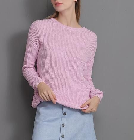 Autumn winter new loose round neck long-sleeved pullover women cotton sweater pink blue white black