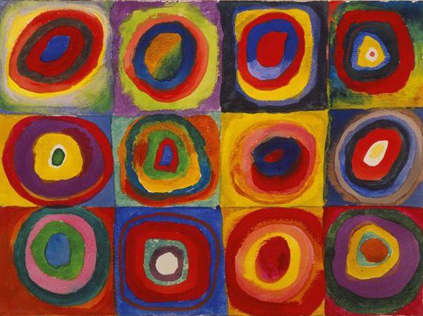 Знаменитые картины Василия Кандинского. «Квадраты с концентрическими кругами», 1913 год Уже настоящая глубокая абстракция. Таким образом, Кандинский проводил исследование в области цвета и геометрии.