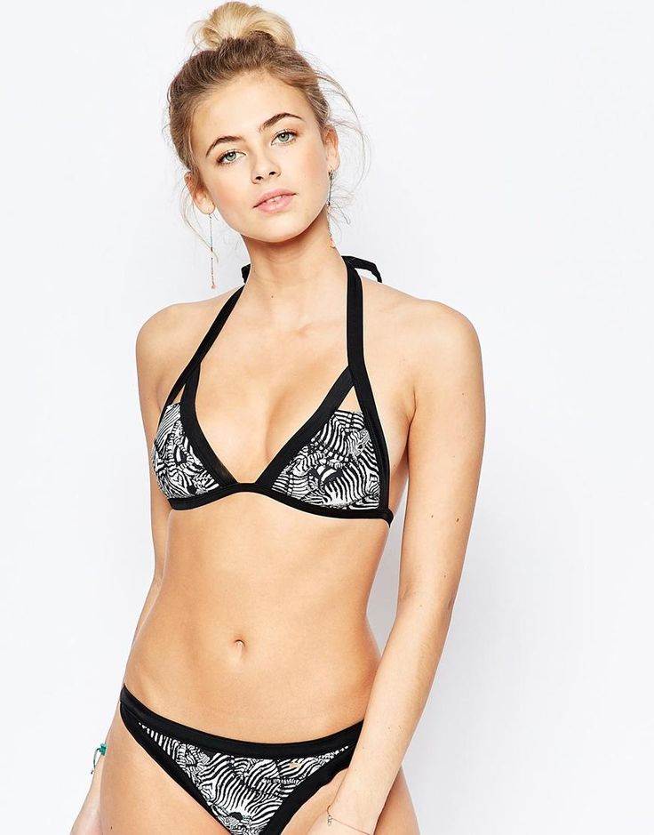 Ted Baker | Ted Baker Zebra Puzzle Cut Out Bikini Top at ASOS