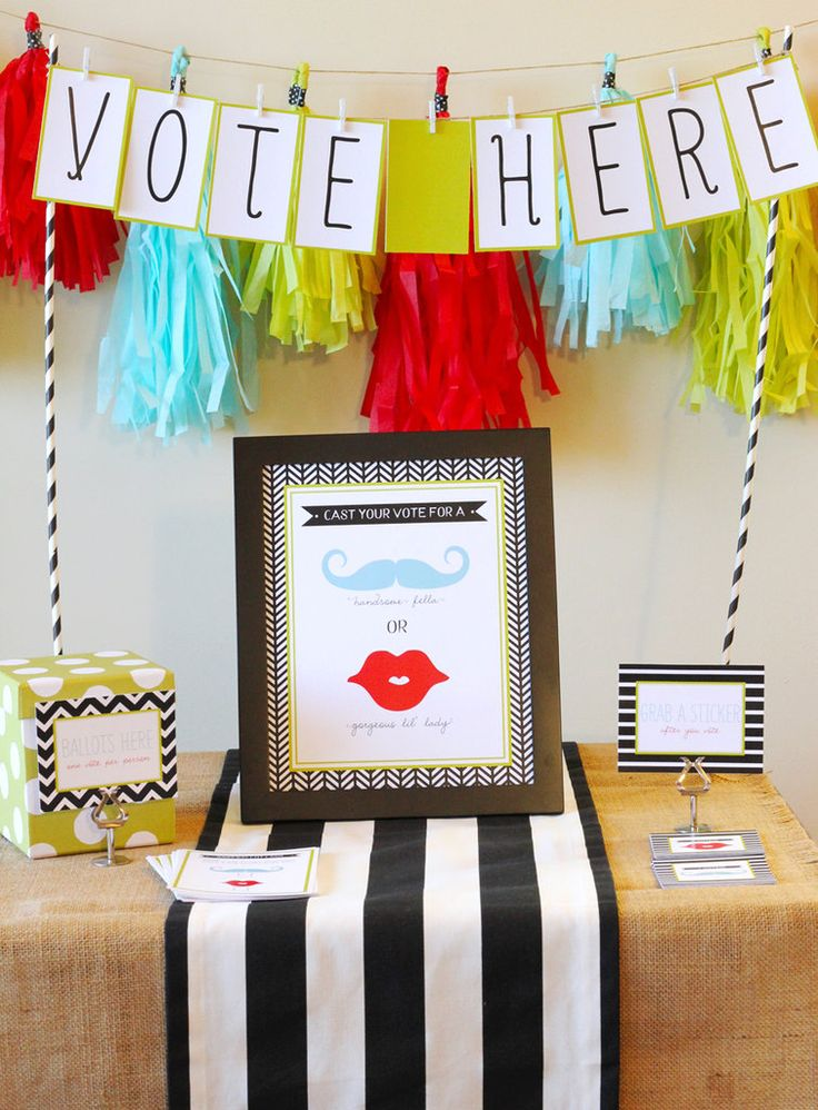 Voting station for gender reveal party