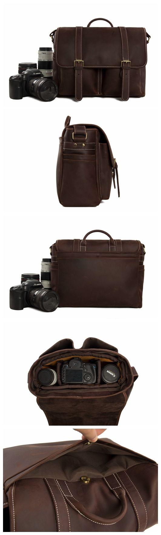 Vintage Genuine Leather DSLR Camera Bag SLR Camera Bag Leather Camera Bag