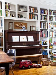 Piano between bookshelves