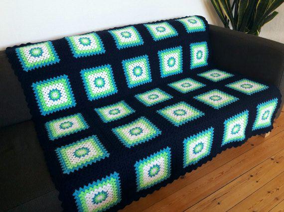 Colorful Afghan Blanket Colorful Crochet Blanket by PhoenixSmiles