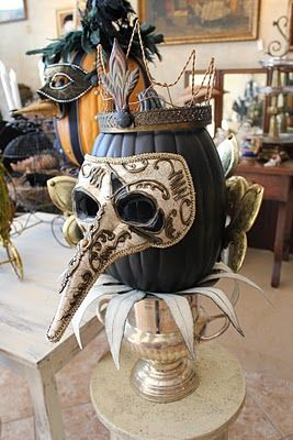 White Horse Relics - glam Halloween party idea dressed up pumpkin and setting instead of traditional ole orange and black tackiness