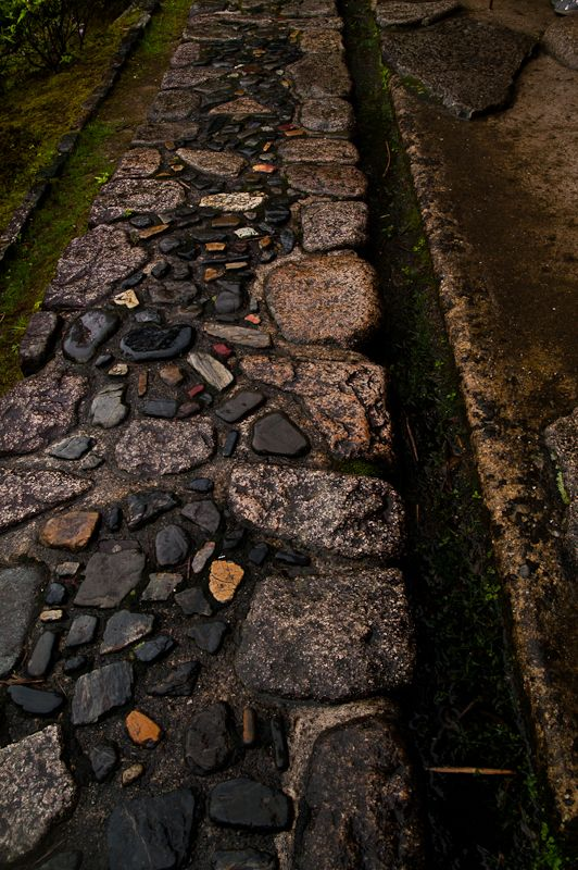 Paved cobbles and stones at Katsura Rikyu Imperial Villa,Japan