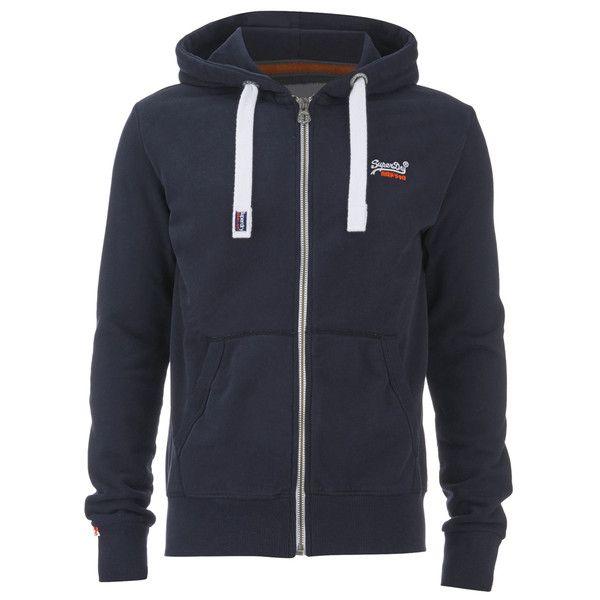 Superdry Men's Orange Label Zip Hoody - Truest Navy ($78) ❤ liked on Polyvore featuring men's fashion, men's clothing, men's hoodies, blue, mens blue hoodie, mens american flag hoodie, mens hoodies, mens sweatshirts and hoodies and mens hoodie