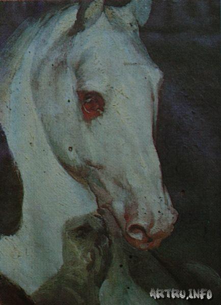 Этюд головы коня. 1850-1852. Холст, масло.