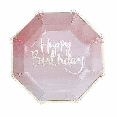 Pink Ombre Happy Birthday Plates (8 pack)