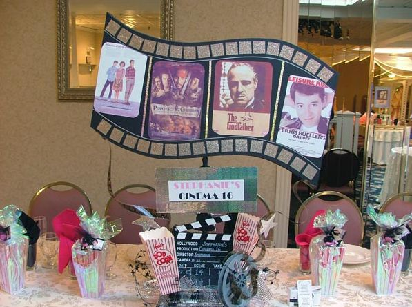 Hollywood Movie Theme Centerpieces with Movies & Popcorn {Bat Mitzvah by Balloon Bouquets of Long Island} - mazelmoments.com