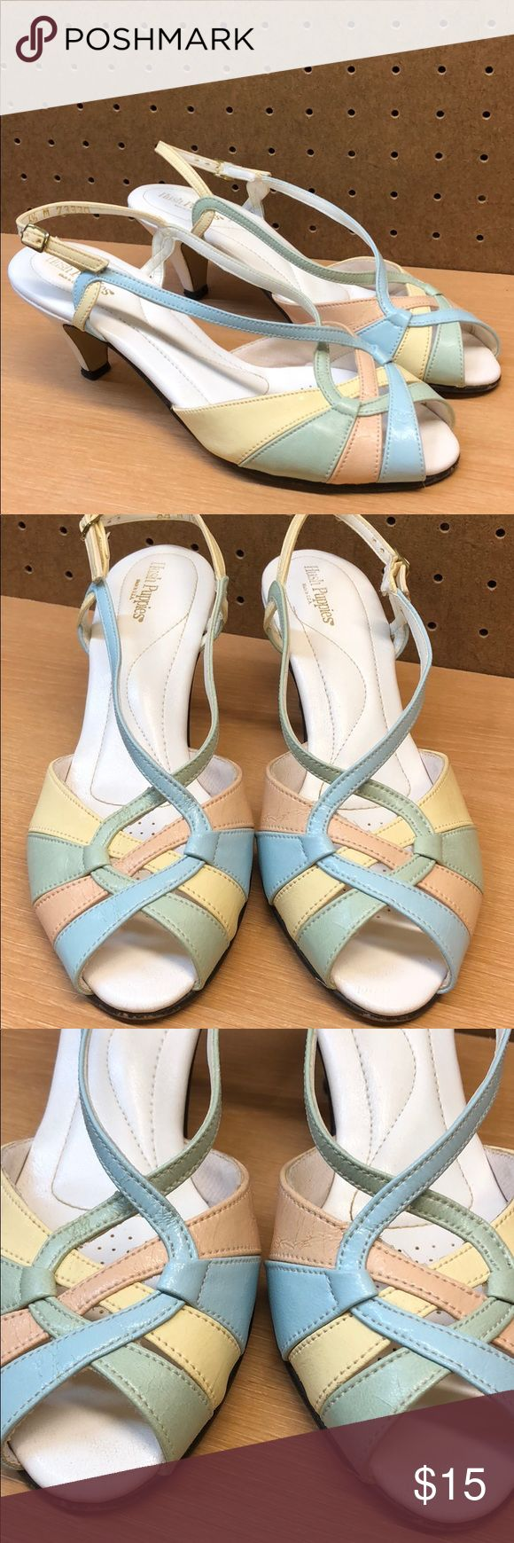 Hush Puppies Open Toe 2.5 in Heel/Sandals size 6.5 These look good even with a few minor signs of wear (see pics)   Open toes with strap in back.   Made of Leather   Colors: White, Yellow, Pink and Green   Approx. 2.5 in Heel Hush Puppies Shoes Heels