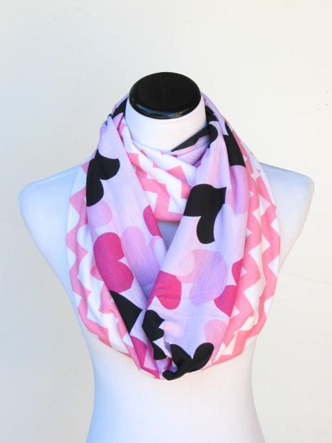 valentines day scarf hearts and chevron scarf infinityscarf valentineday valentinesscarf heartscarf