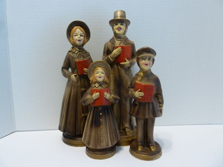 Figurines, Paper Mache, Dickens Style Carolers, Gold Attire, Red Song Books, Original Stickers, Handmade in Japan by BjsDoDads on Etsy