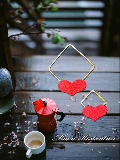 #heart #love #agaph #skoularikia #earrings #kardia #wood #rain #vroxh
