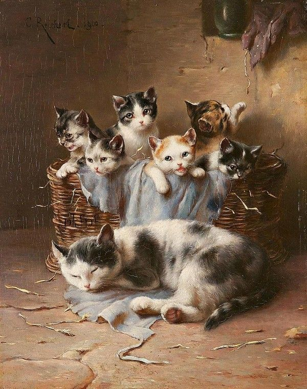 Cats in Art, Illustration, Photography and Design: by Carl Reichert (1836–1918), Austrian animal painter.