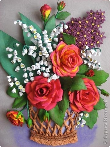 handmade craft ideas paper quilling quilled basket of flowers handmade flowers tutorials 6686