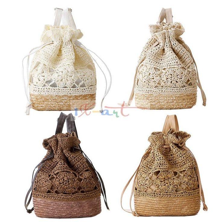 bolsa de franja fringe Crochet shoulder bags woven rattan straw bag Bucket…