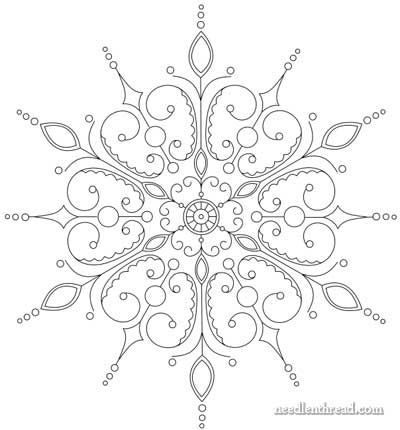 Snowflake Embroidery Pattern- alter to look less like a snowflake, and more with a butterfly motiff!