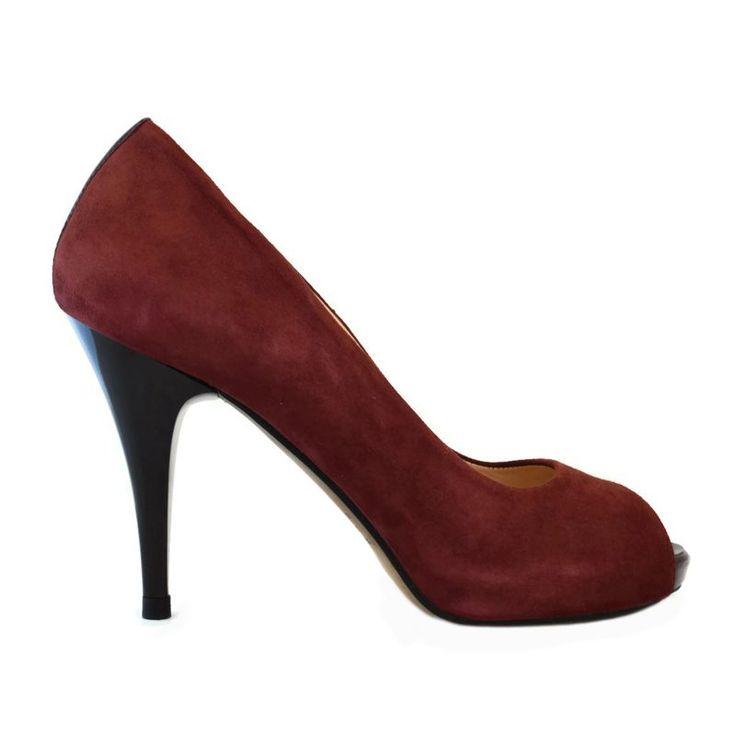 Pantofi din piele bordo velour