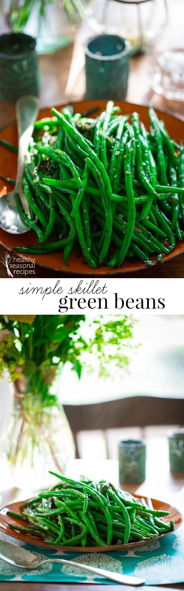 Blog post at Healthy Seasonal Recipes : These simple skillet green beans are a perfect healthy side dish for lazy days of summer. Simple one-pot green bean recipe with garlic, oliv[..]